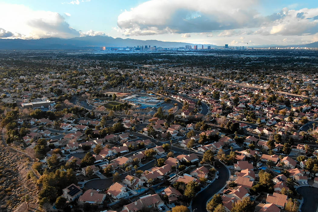 Aerial view of homes near Silver Springs Park in Henderson, Nevada on Saturday, February 16, 20 ...