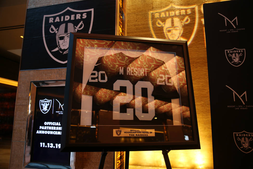 A custom M Resort Raiders jersey on display during a press conference announcing a partnership ...