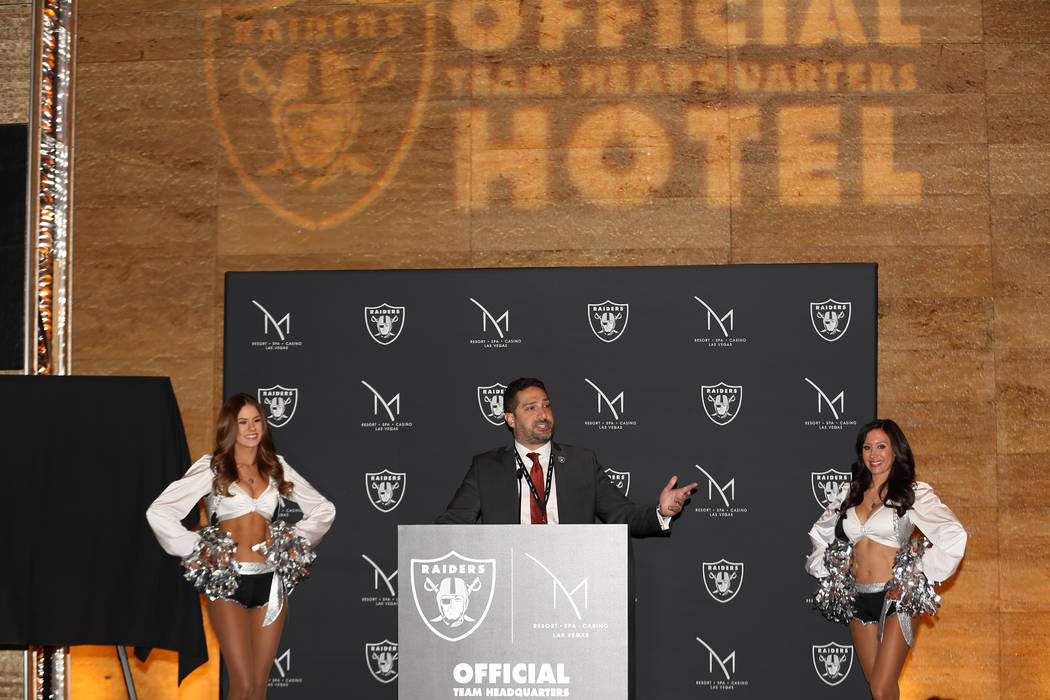 Hussain Mahrous, vice president and general manager for the M Resort, speaks during a press con ...