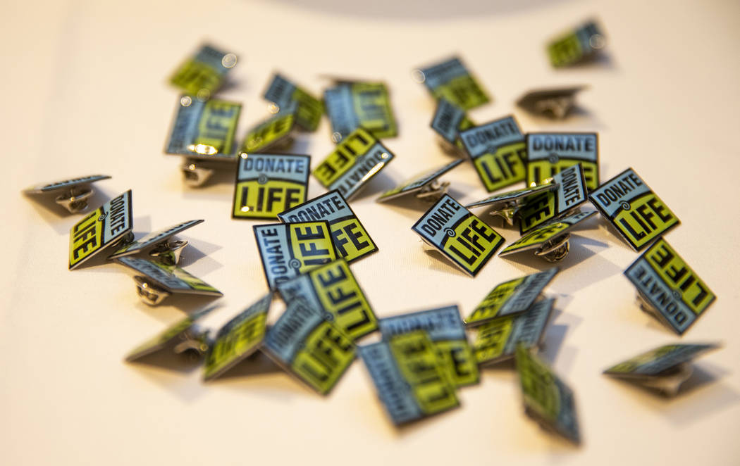 Pins from the Nevada Organ Donor Network available at the event honoring Jacob Jimmerson at the ...