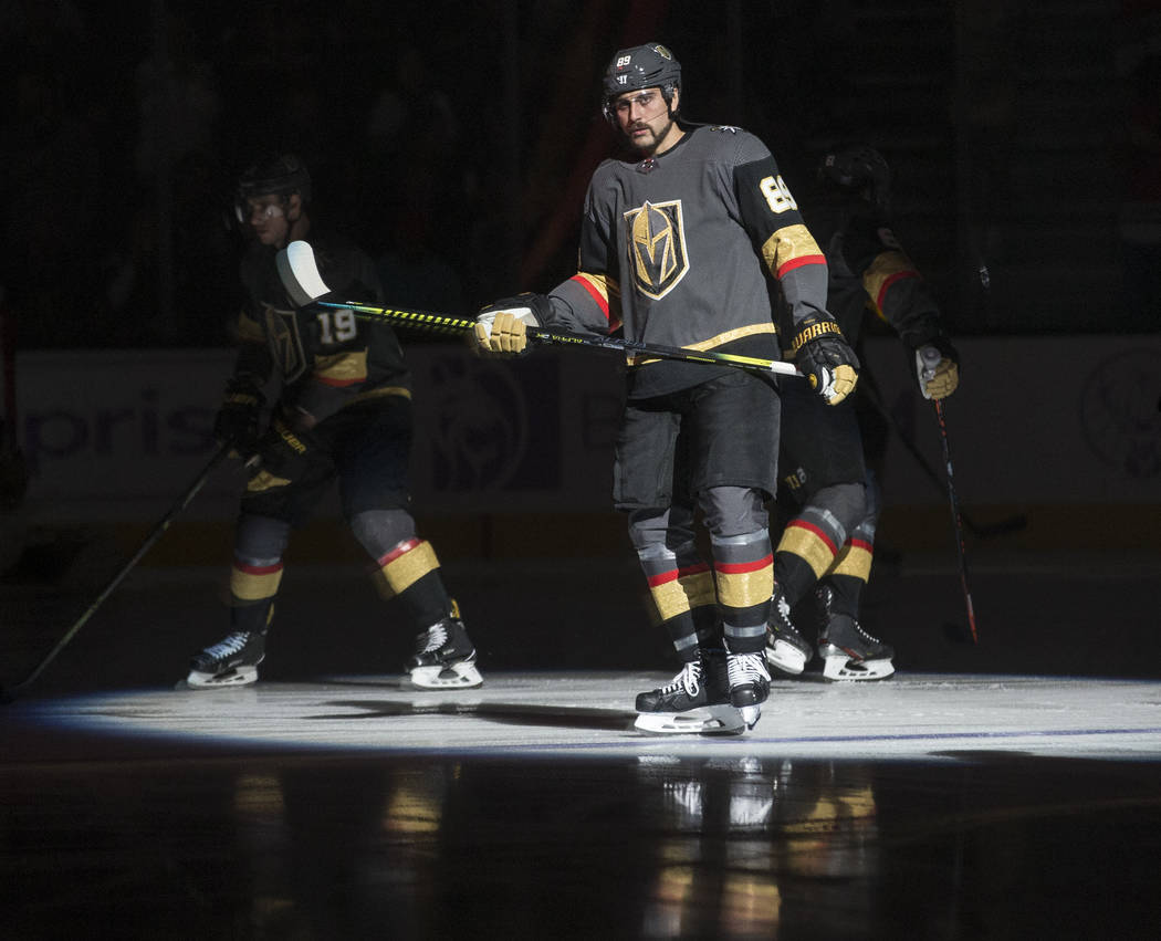 Vegas Golden Knights right wing Alex Tuch (89) warms up before the start of their NHL hockey ga ...