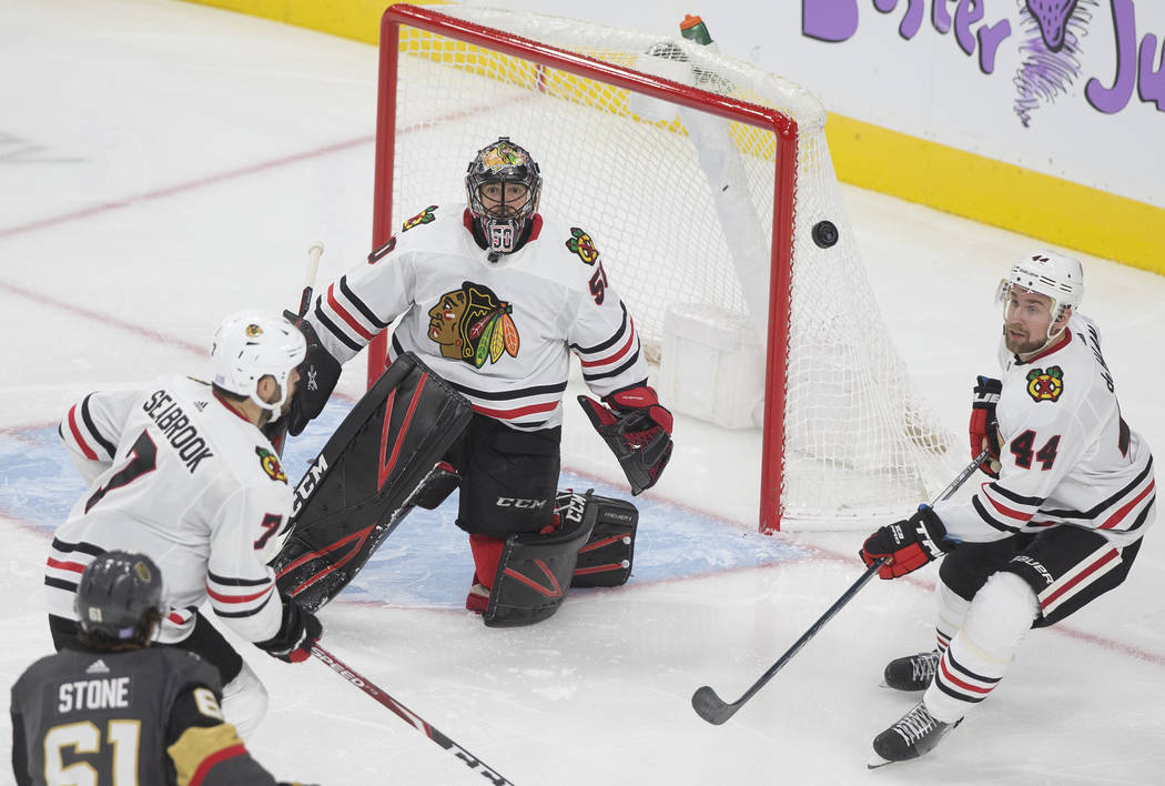 Vegas Golden Knights right wing Mark Stone (61) watches his shot on Chicago Blackhawks goaltend ...