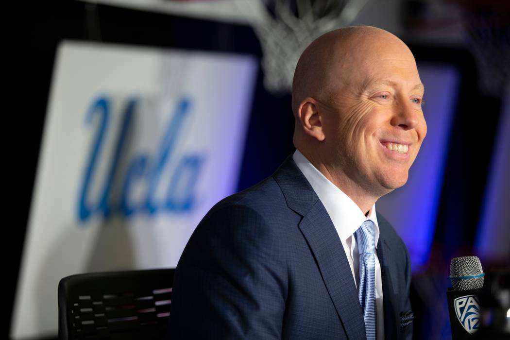 FILE - In this Tuesday, Oct. 8, 2019, file photo, UCLA coach Mick Cronin speaks during the Pac- ...