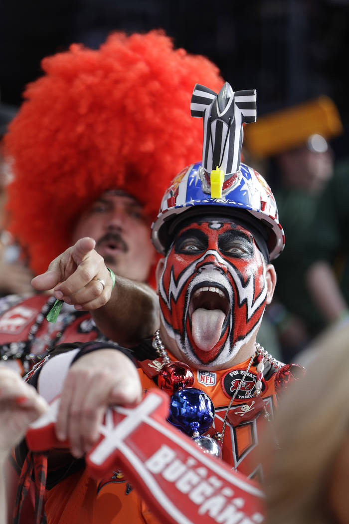 Tennessee Titans fan Keith Kunzig, of Tampa Bay, Fla., main stage ahead of the second round of ...