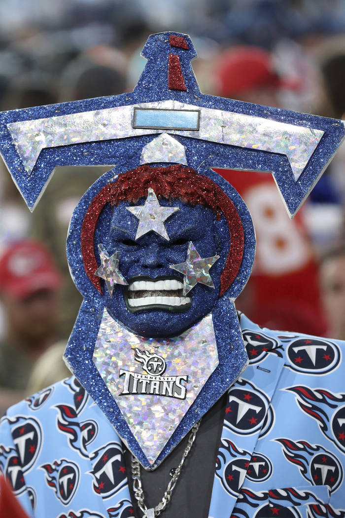 A Tennessee Titans fan is seen during the second round of the NFL football draft, in Nashville, ...