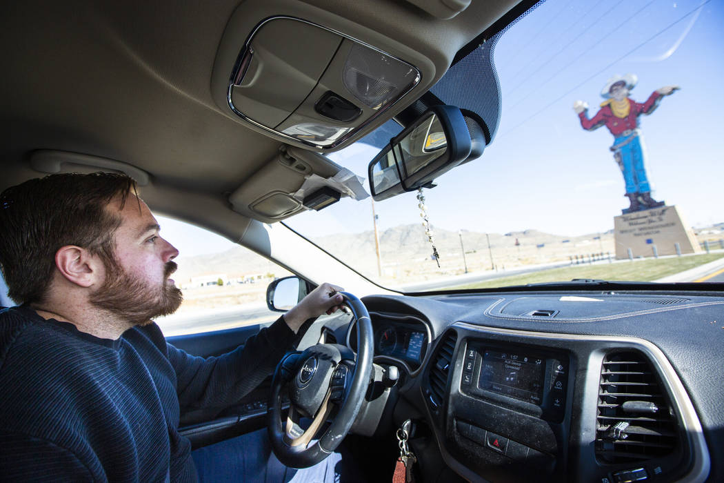 West Wendover Mayor Daniel Corona drives past the Wendover Will sign near West Wendover City Ha ...