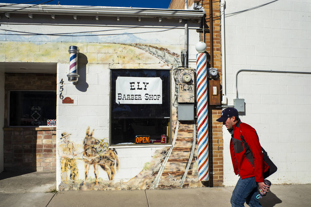 Ely Mayor Nathan Robertson heads to city hall in Ely on Tuesday, Nov. 5, 2019. (Chase Stevens/L ...