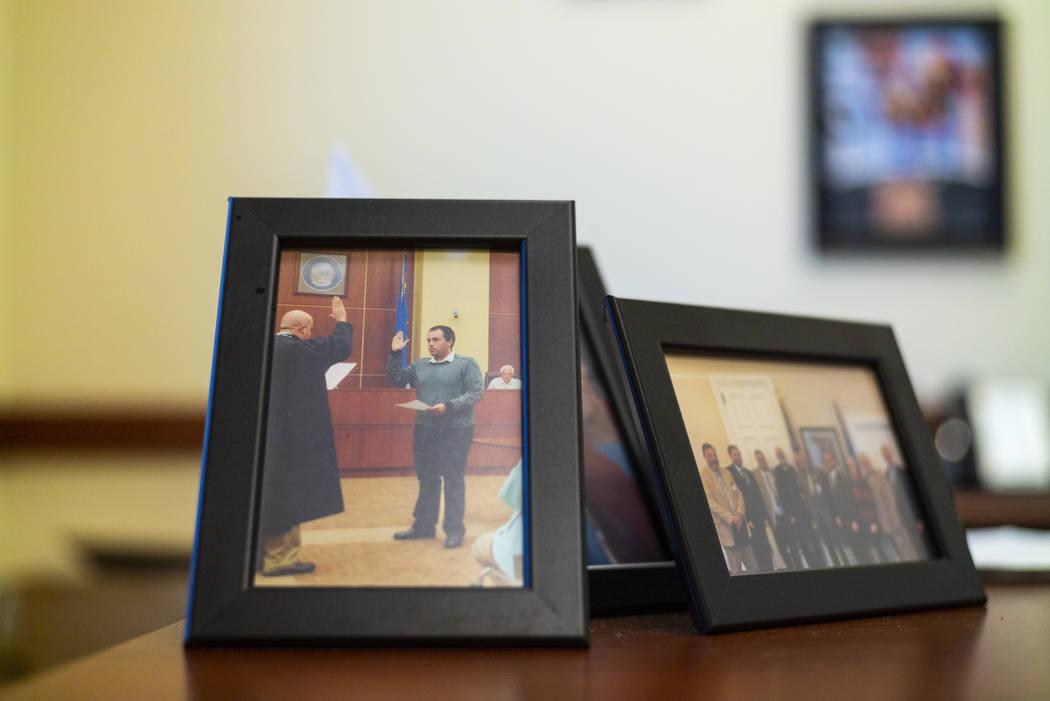 A photo of West Wendover Mayor Daniel Corona being sworn-in on Nov. 15, 2016, at West Wendover ...