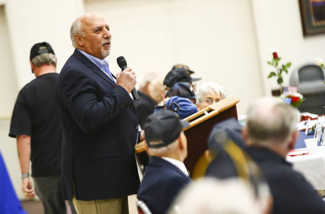 Las Vegas City Councilman Stavros Anthony speaks during an event honoring World War II veterans ...
