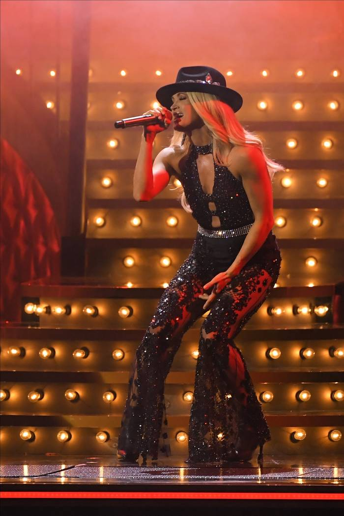 "Carrie Underwood performs ""Drinking Alone"" at the 53rd annual CMA Awards at Bridgesto ..."