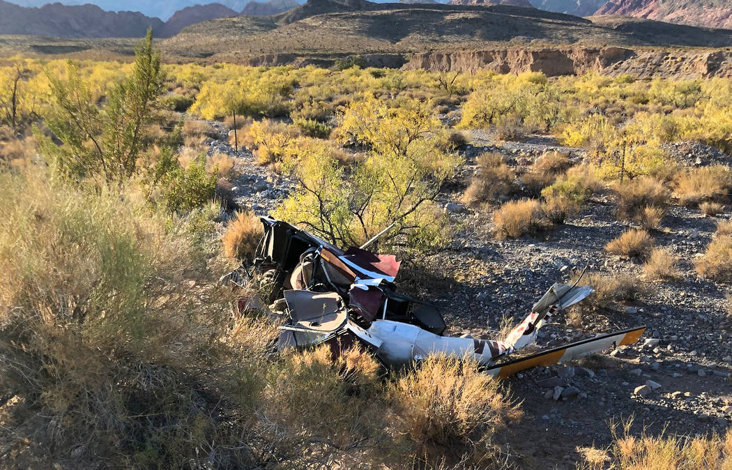 Debris from a helicopter crash near Red Rock Canyon on Wednesday, Oct. 23, 2019. (Nevada Highwa ...