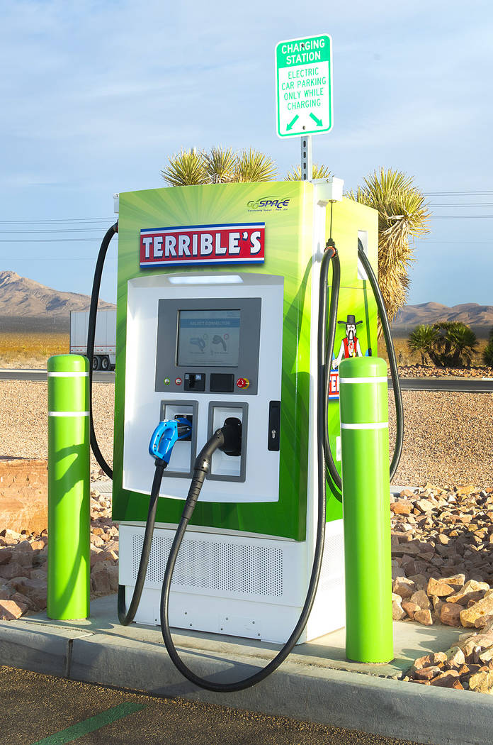 Two DC fast electric vehicle chargers went live Thursday Nov. 14, 2019 at Terrible's Road Hou ...