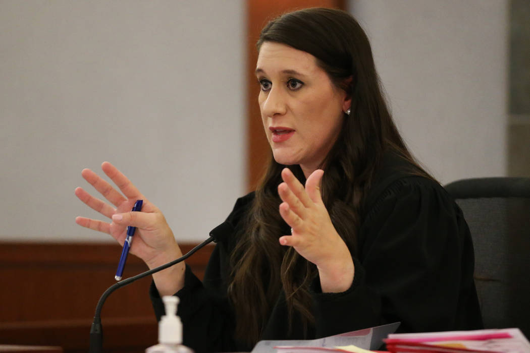 Justice of the Peace Harmony Letizia speaks during a court hearing in the criminal case against ...