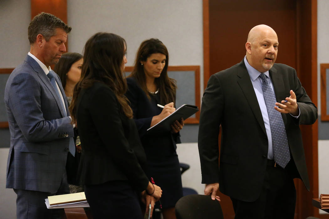 Anthony Sgro, right, attorney for retired Las Vegas Convention and Visitors Authority CEO Rossi ...