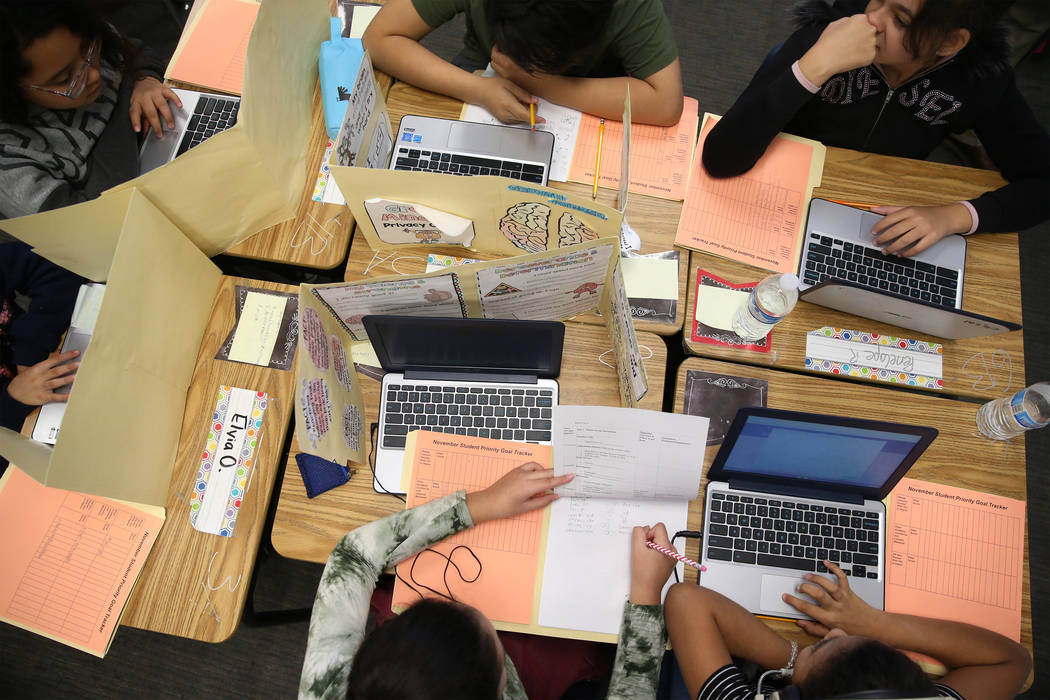 Fifith-grade-students work in a classroom at Crestwood Elementary School in Las Vegas, Wednesda ...