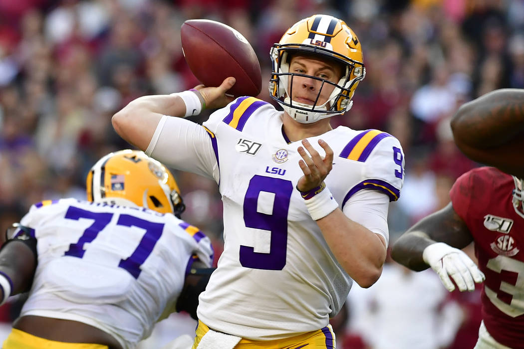 LSU quarterback Joe Burrow (9) throws a pass against Alabama an NCAA football game Sunday, Nov. ...