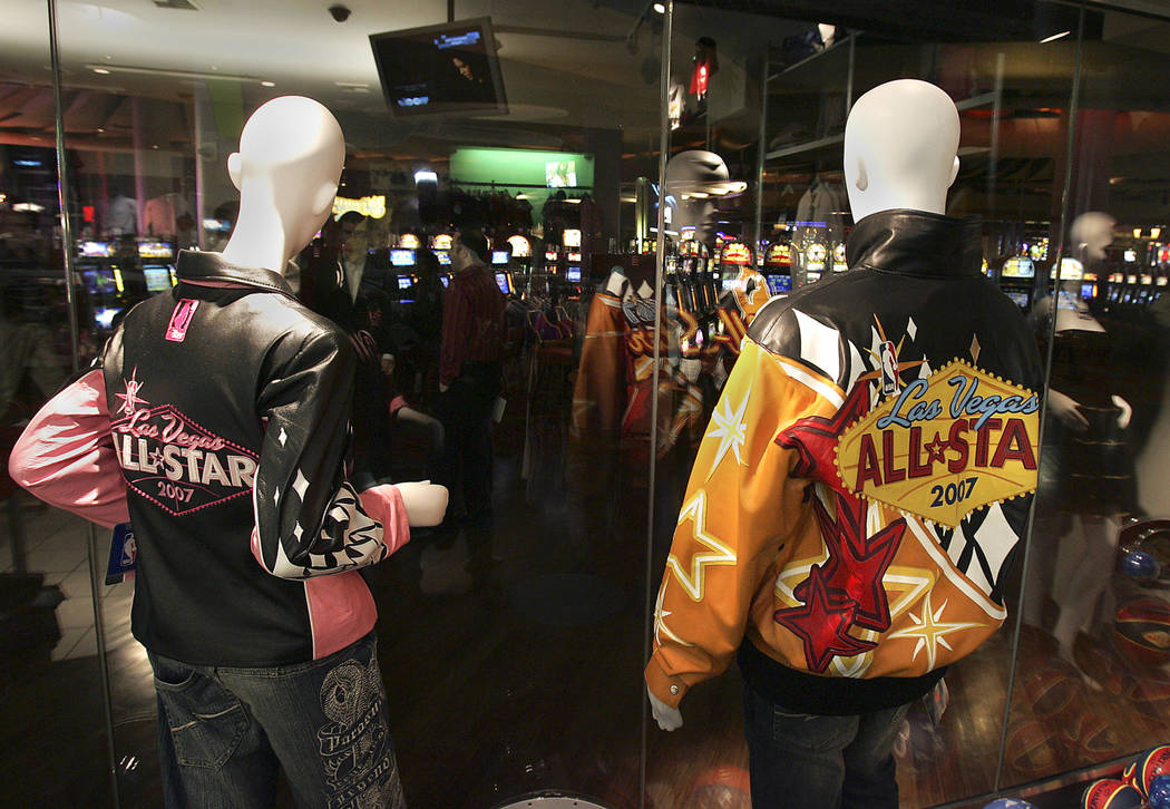 Mannequins in the Palms' gift shop wear NBA All-Star logo jackets to commemorate the arrival of ...