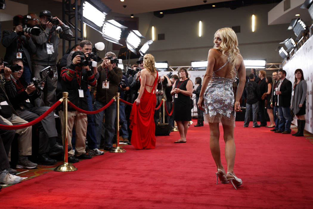 Adult film actress Jesse Jane poses on the red carpet at the 2011 AVN Awards, held at the Palms ...