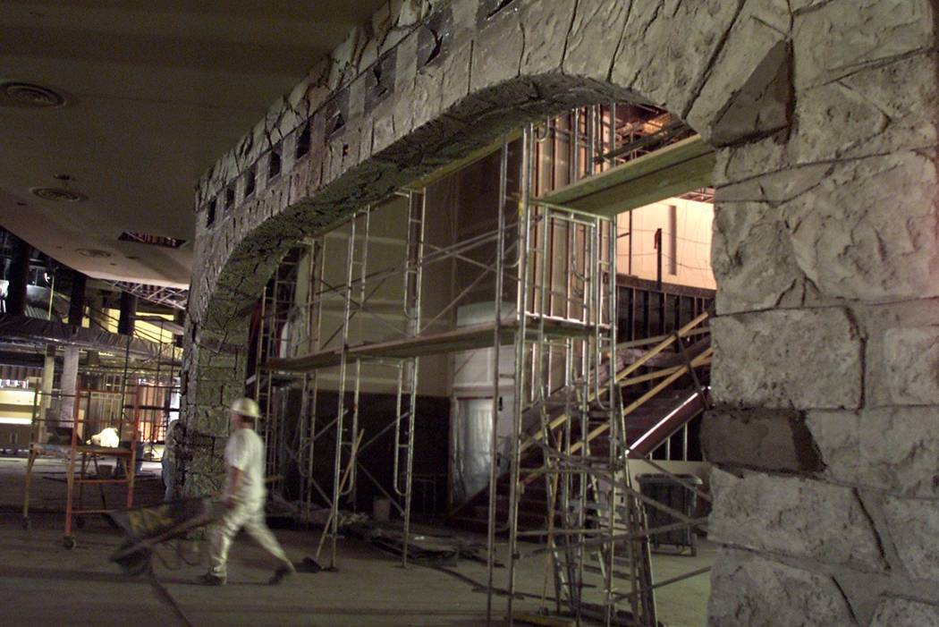 A faux stone archway leads into what was to be Garduno's Restaurant at the Palms in April 2001. ...