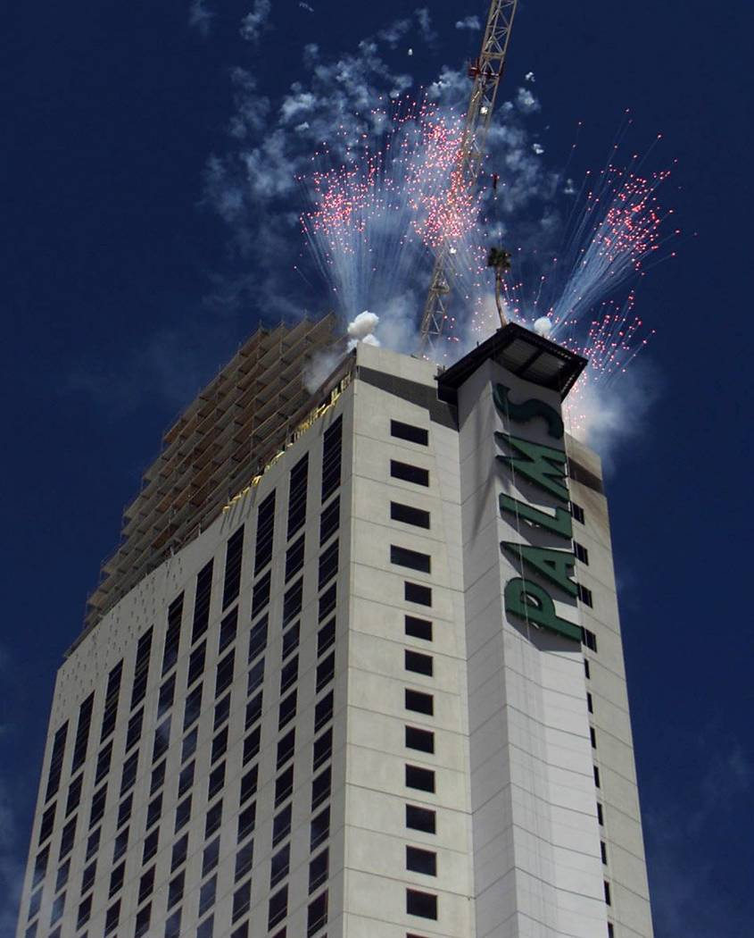Fireworks blast off from the Palms Casino Hotel Las Vegas during its topping-off ceremony on Ju ...