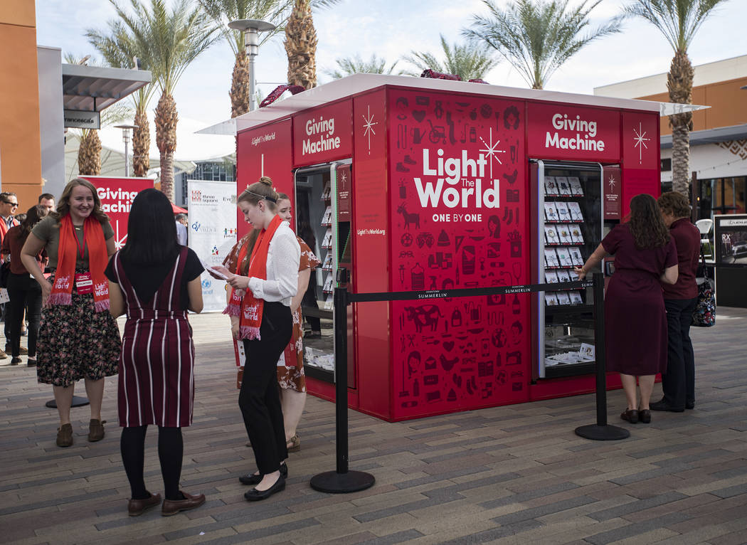 The Giving Machine, a vending machine that offers different items from charities a user can sel ...