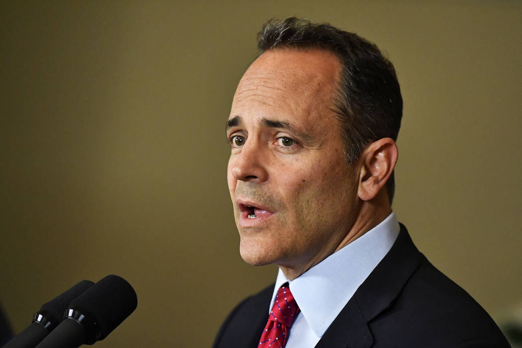 FILE - In this Nov. 6, 2019, file photo, Kentucky Gov. Matt Bevin announces his intent to call ...