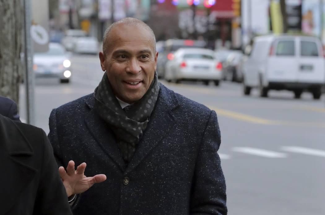 Democratic presidential candidate former Massachusetts Gov. Deval Patrick arrives to campaign T ...