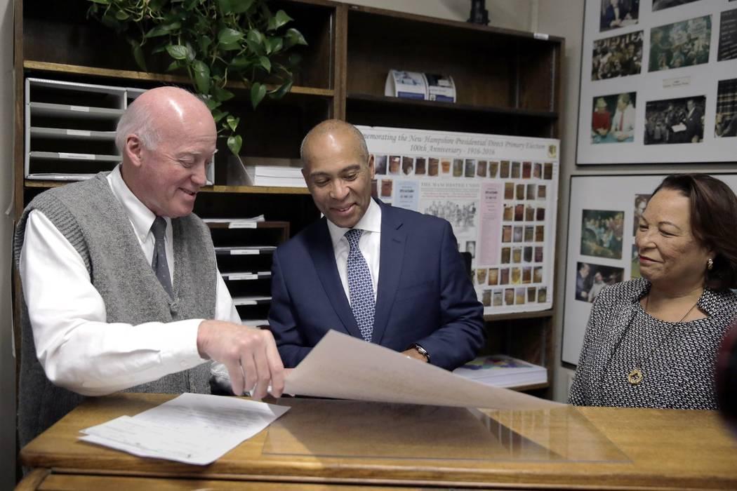 Democratic presidential candidate former Massachusetts Gov. Deval Patrick hands back to New Ham ...