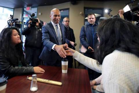 Democratic presidential candidate former Massachusetts Gov. Deval Patrick campaigns Thursday, N ...