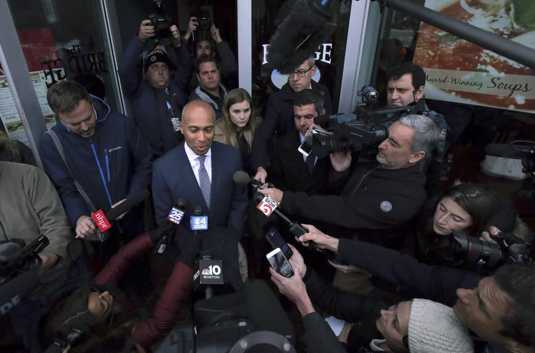 Democratic presidential candidate former Massachusetts Gov. Deval Patrick speaks to media outsi ...