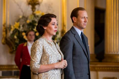 "Olivia Colman and Tobias Menzies in ""The Crown"" (Sophie Mutevelian/Netflix)"