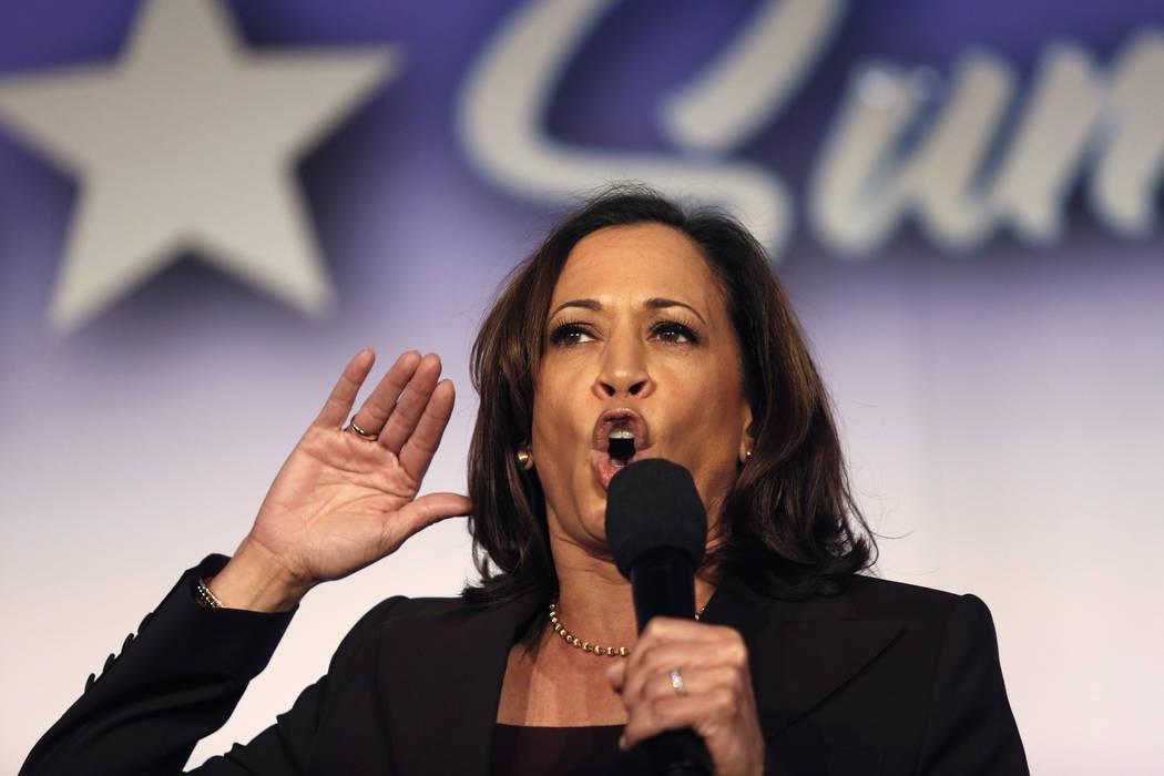 FILE - In this Oct. 4, 2019, file photo, Democratic presidential candidate Sen. Kamala Harris, ...