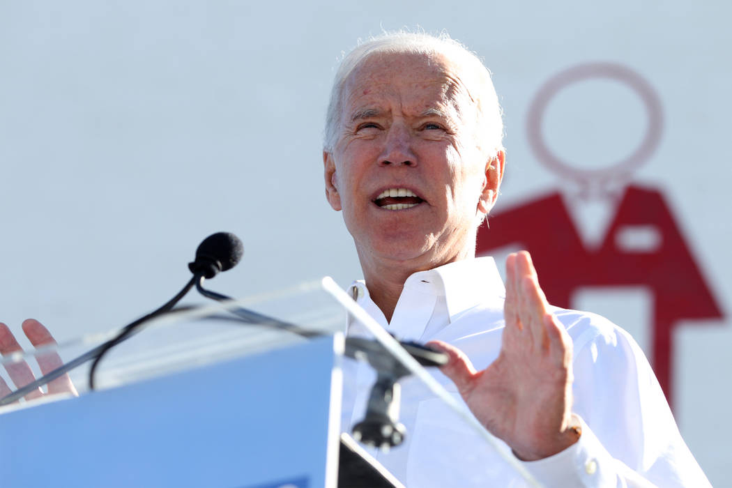 Former Vice President Joe Biden rallies the crowd during a Nevada State Democratic Party rally ...