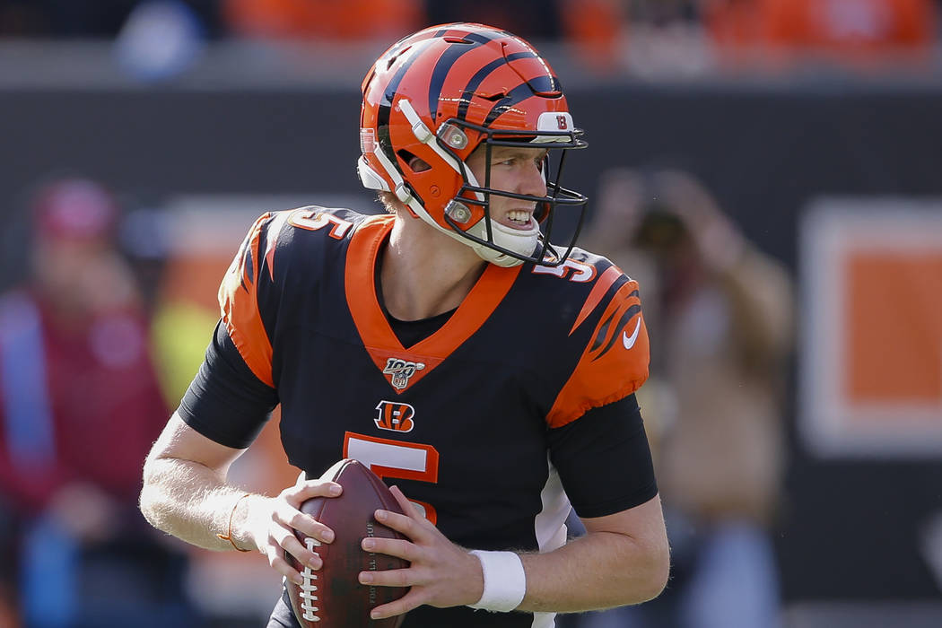 Cincinnati Bengals quarterback Ryan Finley (5) looks to pass during the first half of NFL footb ...