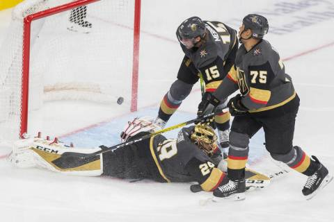 Vegas Golden Knights goaltender Marc-Andre Fleury (29), Vegas Golden Knights right wing Ryan Re ...