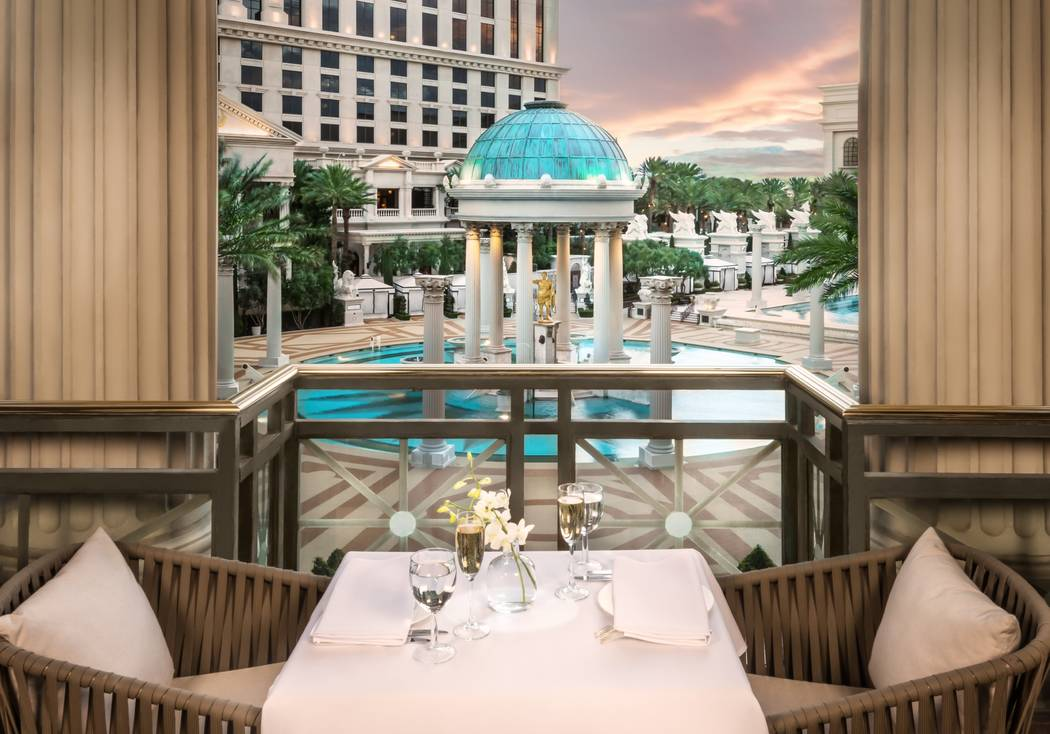 Mr Chow has capitalized on its patio, overlooking Caesars Palace's Garden of the Gods Pool Oa ...