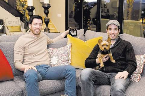 "Jonathan and Drew Scott, who star on the HGTV's ""Property Brothers,"" in their Las Vegas home du ..."