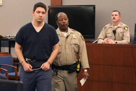 Maysen Melton, a 16-year-old accused of raping classmates, lead out of the courtroom after his ...
