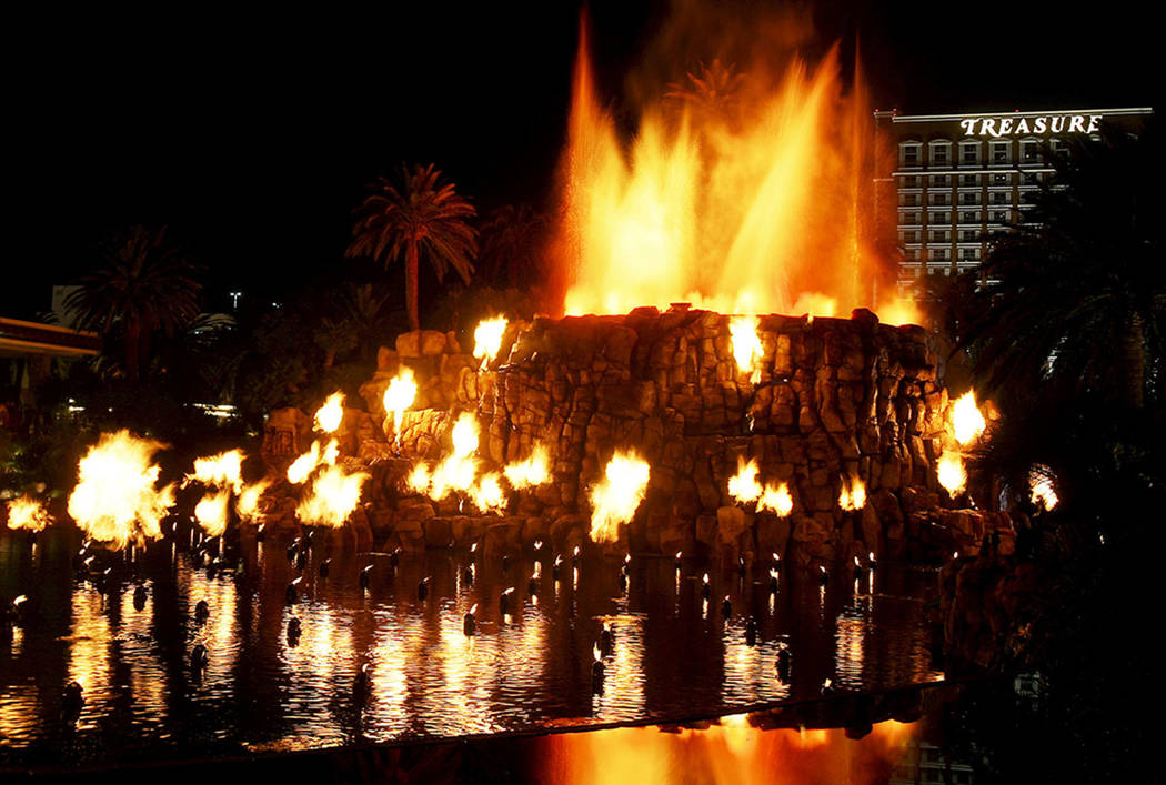 The newly upgraded Mirage hotel-casino volcano explodes with pyrotechnics during a debut unveil ...