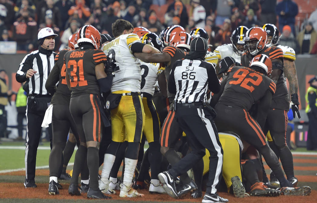 The Cleveland Browns and the Pittsburgh Steelers brawl during the second half of an NFL footbal ...