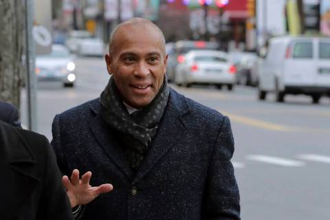 Democratic presidential candidate and former Massachusetts Gov. Deval Patrick arrives to campai ...