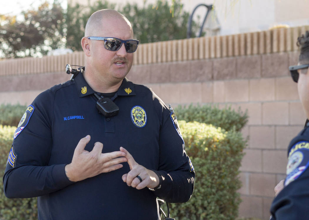 """Sgt. Michael Campbell of """"Fab Five,"""" the five-member traffic unit of Clark County Sc ..."""