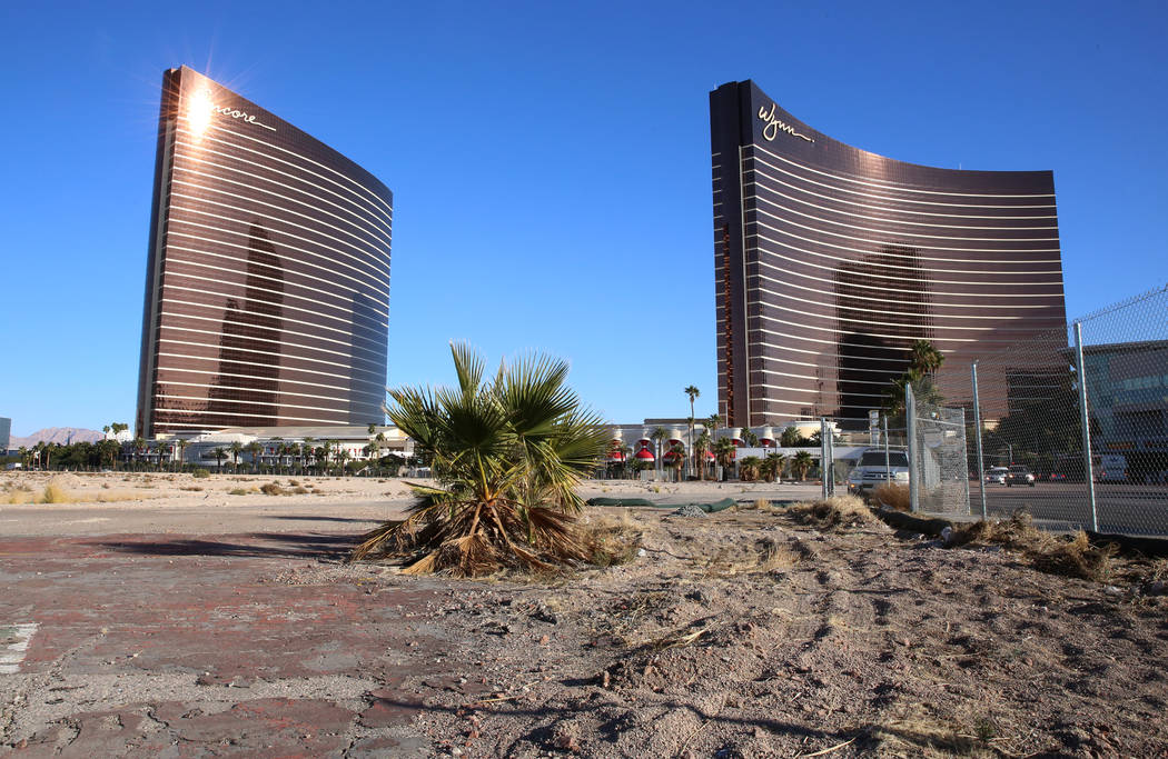 A vacant lot across from Wynn Las Vegas is photographed Thursday, Dec. 14, 2017, after Wynn Res ...