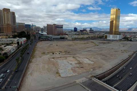 Aerial photo of property owned by Wynn Resorts at the southwest corner of Las Vegas Boulevard a ...