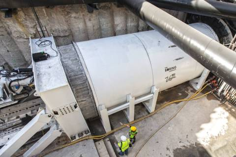 A tunnel boring machine is seen at the construction site during a media tour at the Las Vegas C ...