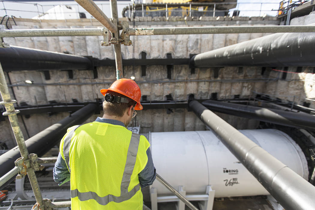 A tunnel boring machine is seen at the construction site during a media tour at the Las Vegas ...