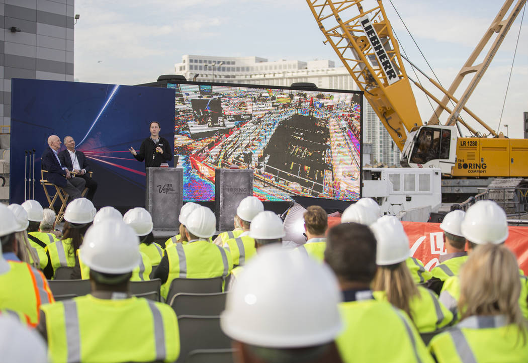 The Boring Company president Steve Davis, top/middle, speaks at the future location of one of t ...