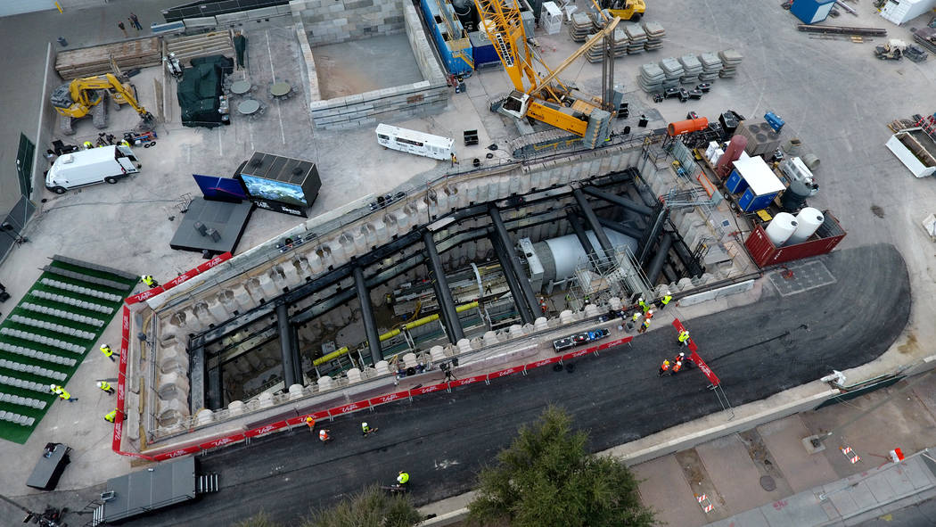 An aerial view of a tunnel boring machine is seen at the construction site during a media tour ...