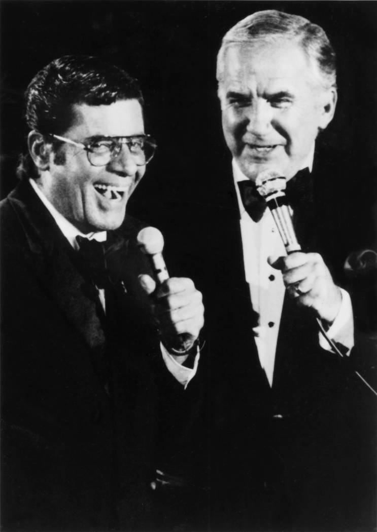 Jerry Lewis talks with Ed McMahon during the 24-hour broadcast of the Jerry Lewis Muscular Dyst ...