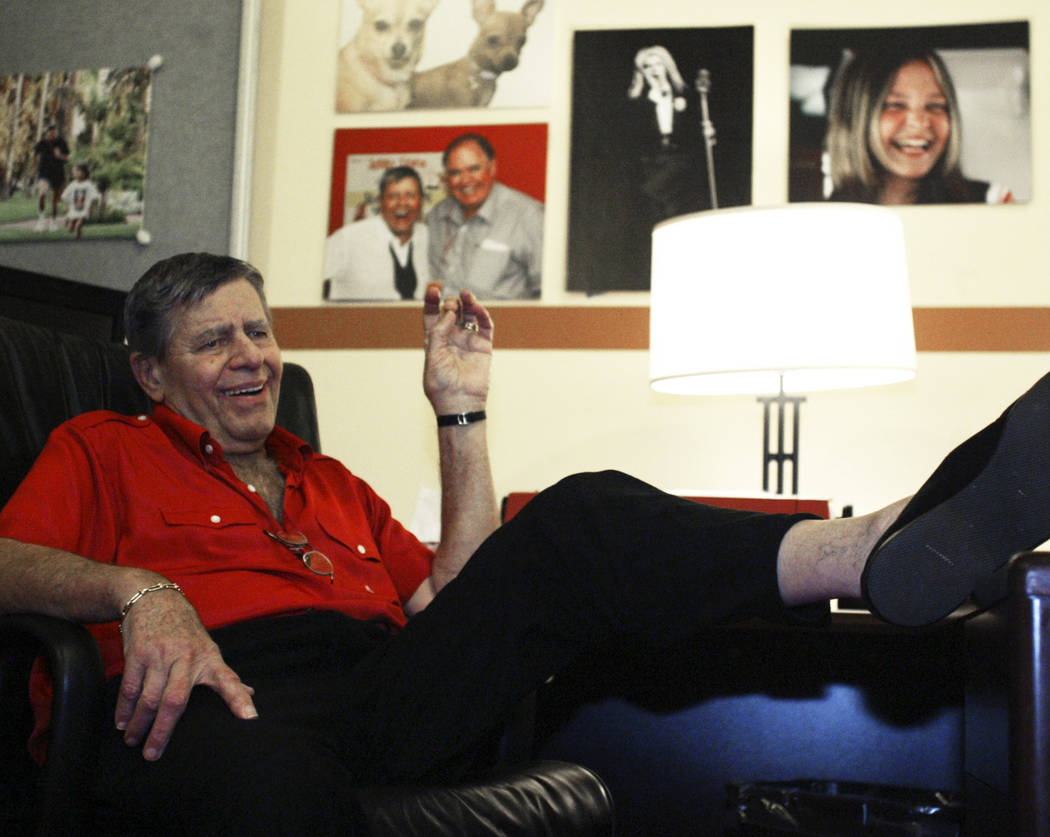 Jerry Lewis relaxes in his Muscular Dystrophy Association telethon office at South Point, Aug. ...